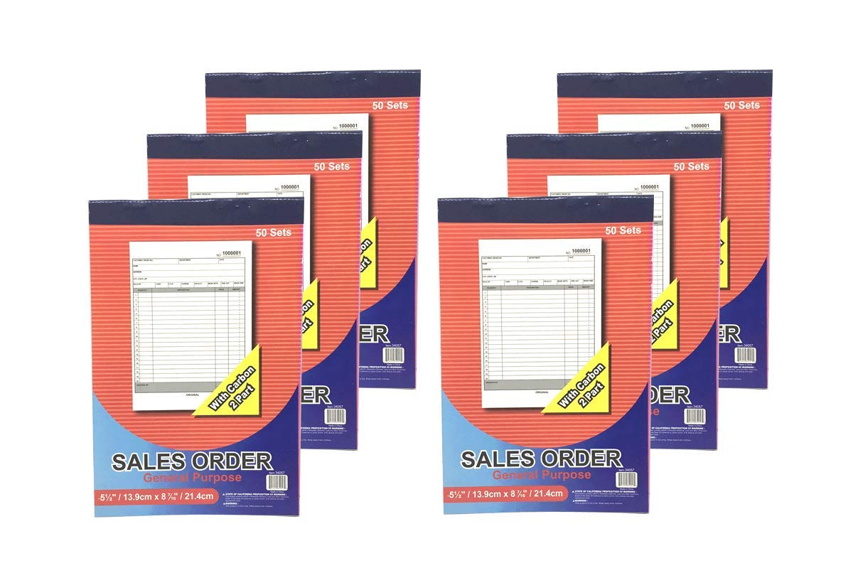 50 Sets per Book Size 5.5 x 8.5 Inches Carbonless 2-Part 6 Books ...