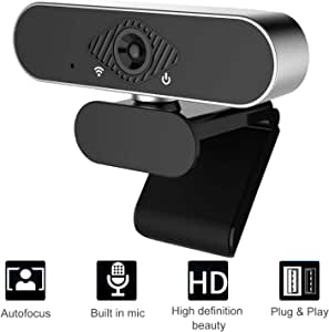Full HD 1080P Web Camera (30fps), Plug & Play USB Webcam with Built-in Dual Microphone, Facial-Enhancement Technology, Multi-Compatible, for Video Conferencing, Recording, and Streaming