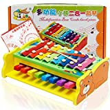 Goodplay Multifunctional Wooden Instrument Percussion Eight Tones Hand Knock 2 in 1 Xylophone and Piano Lovely Animal Xylophone 8 Keys Toy With 2 Plastic Mallets For Kids (Little Bear)