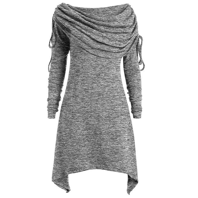 2e96dc9cd7defa Damen Tops Plus Size Rovinci Herbst Elegante Damen Langarm T-Shirt  Einfarbig Wasserfallausschnitt Top Langarmshirt