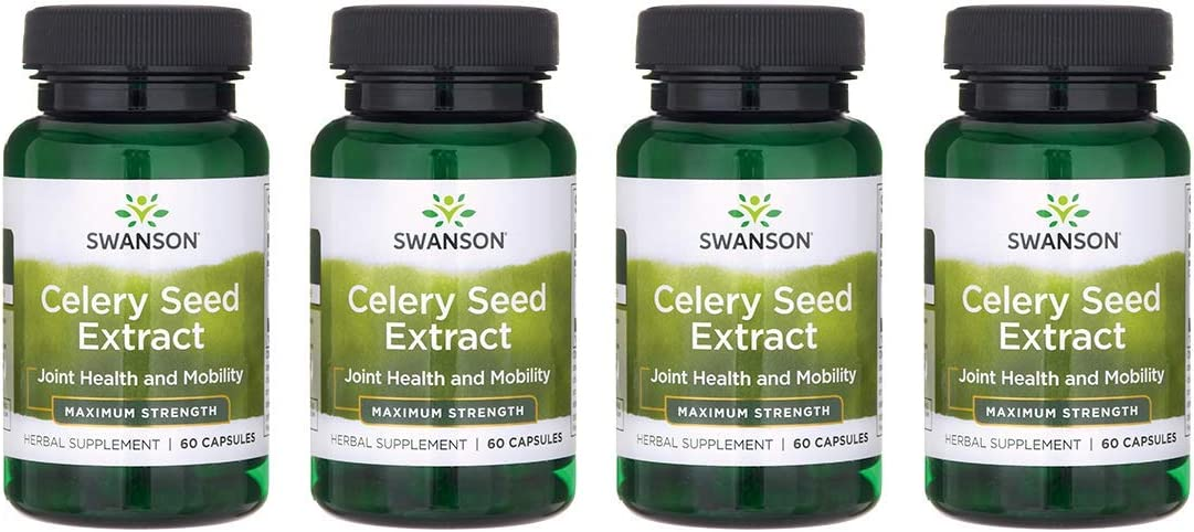 Swanson Celery Seed Extract Cellery Urinary Health Antioxidant Support Phytochemicals Volatile Oils Supplement Maximum Strength 150 mg 60 Capsules 4 Pack