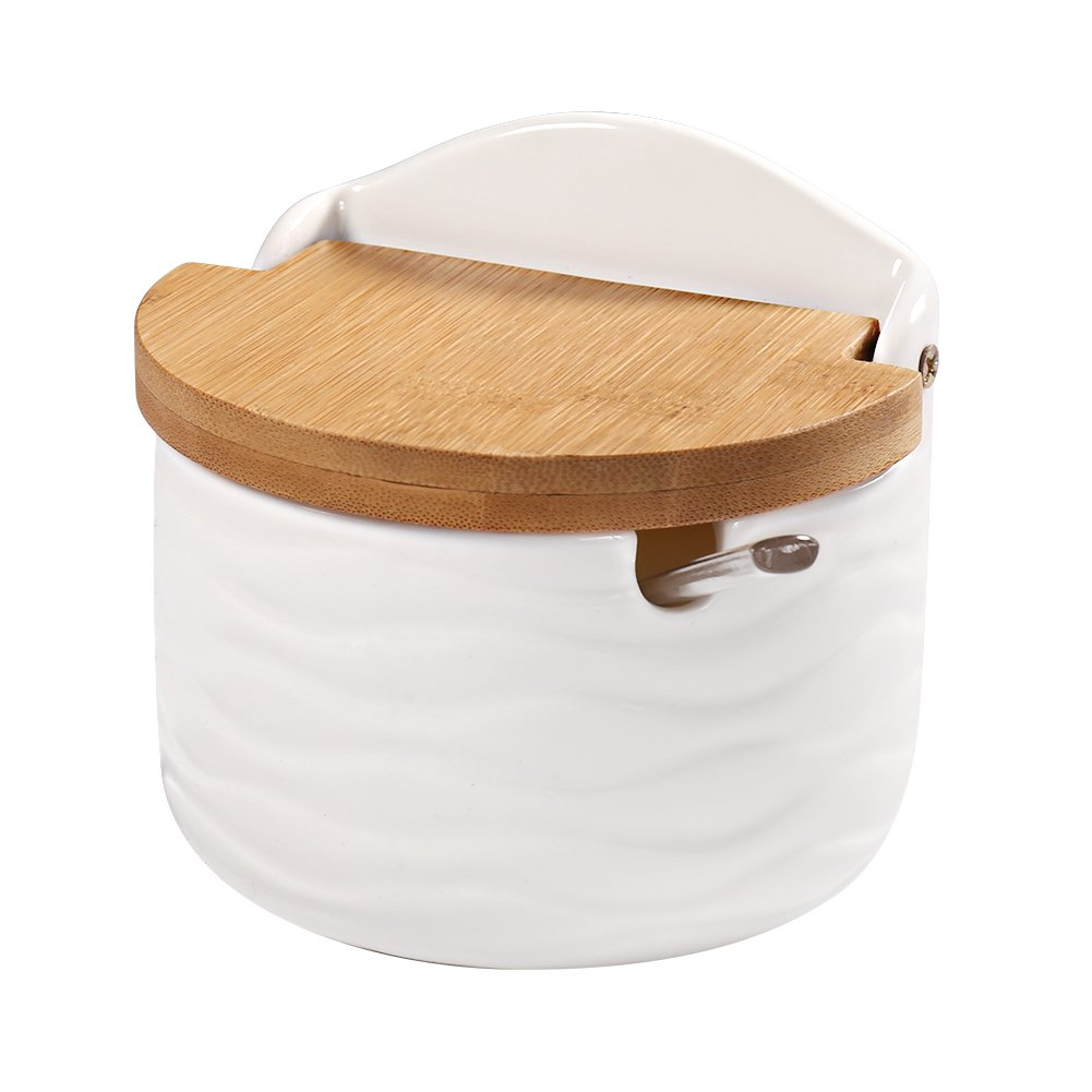 Sugar Bowl, 77L Ceramic Sugar Bowl with Sugar Spoon and Bamboo Lid for Home and Kitchen - Modern Design, White, 8.58 FL OZ (254 ML)
