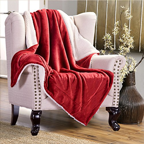 Bedsure Sherpa Throw Blanket Red Twin Size 60x80 Bedding