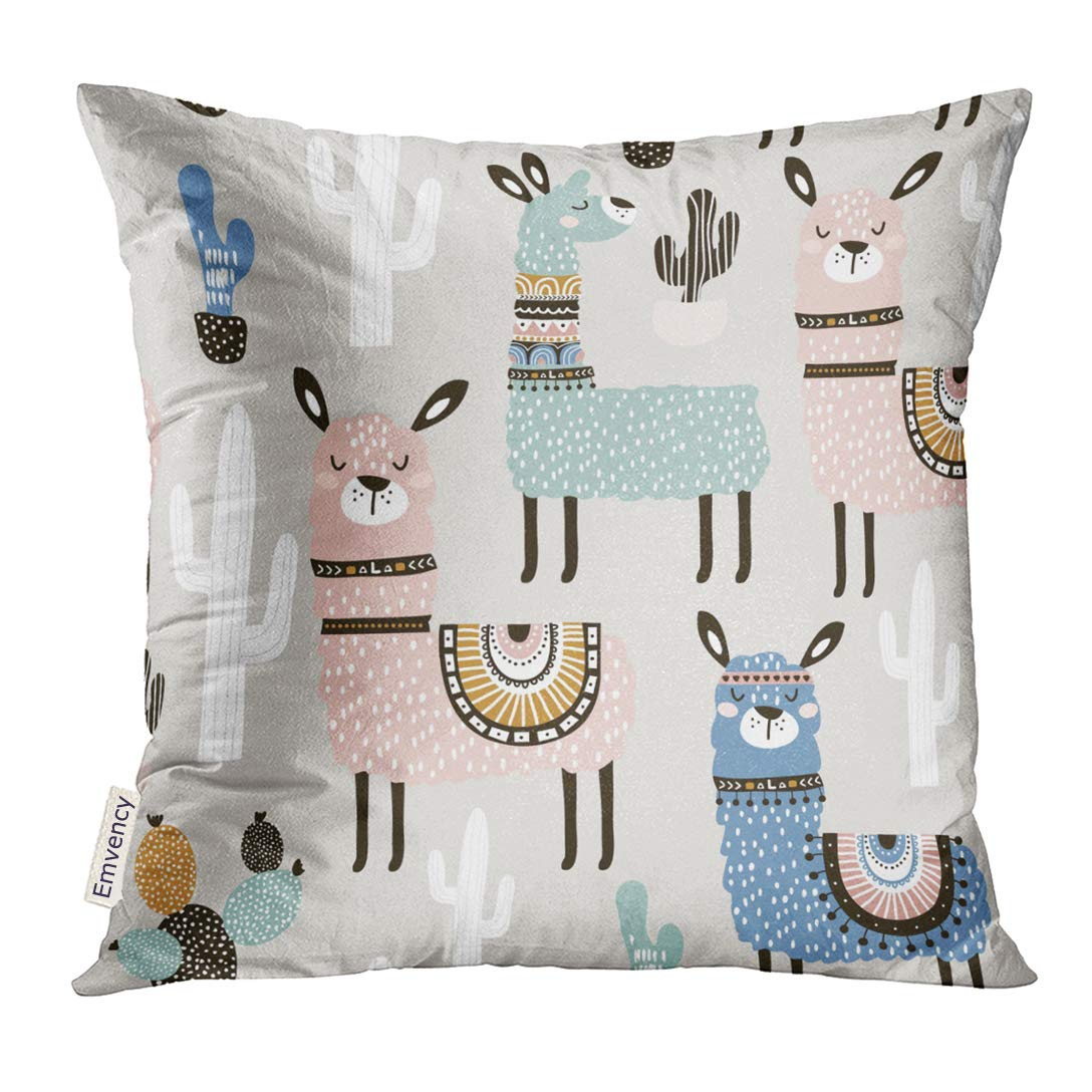 Emvency Throw Pillow Cover Alpaca with Llama Cactus and Creative Childish Great Baby Lama Decorative Pillow Case Home Decor Square 16x16 Inches Pillowcase