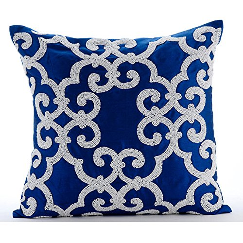 Designer Blue Accent Pillows, Arabic Pattern Beaded Pillows Cover, 18