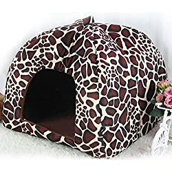 Zehui Pet Nest Dog Cat Bed Cave Kennel House with Cushion Lovely Cute Soft Warm Foldable Leopard