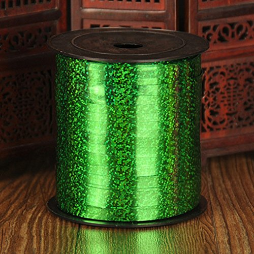 New Colors1 PCS 250Yard Balloons Ribbons Laser Ribbon for Party Decoration Birthday Wedding Decoration DIY Accessories 220m Laser Green (220 Laser)