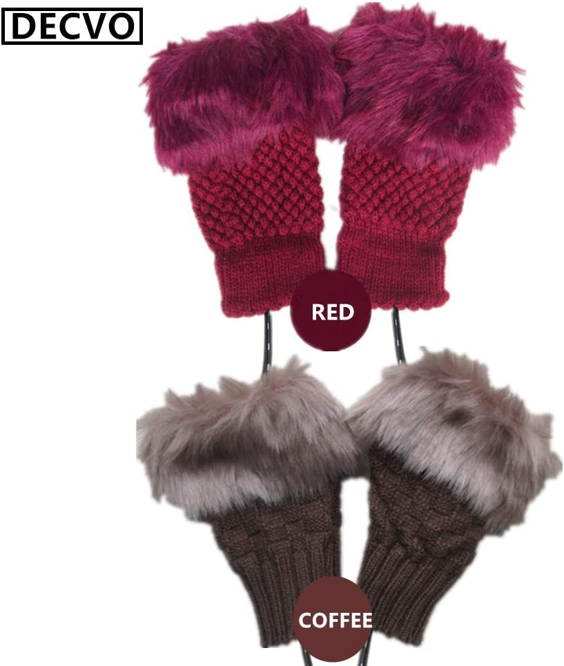 2 Pair (4 Pack) DECVO Winter Powered Warmer Thicken Fingerless USB Heated Gloves Plush Cold-Proof Knitted Half Finger Laptop Mittens USB Warm Gloves for Women Teen Girls Best Winter Gift (Pink+Blue)