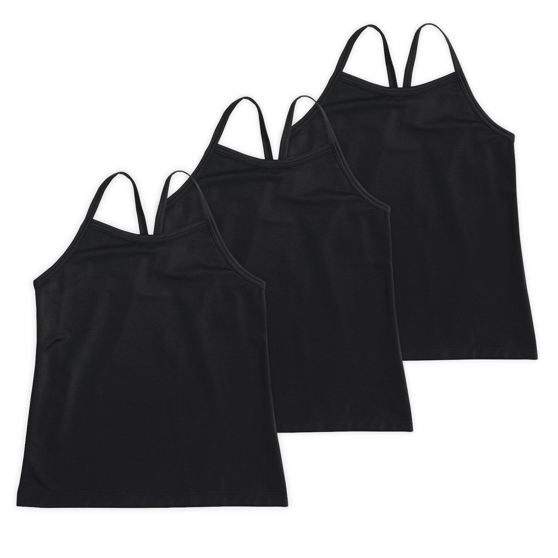 Lucky & Me Ella Girls Dance Tank Top, Gymnastics & Dancewear, 3-Pack, Triple Black, 6