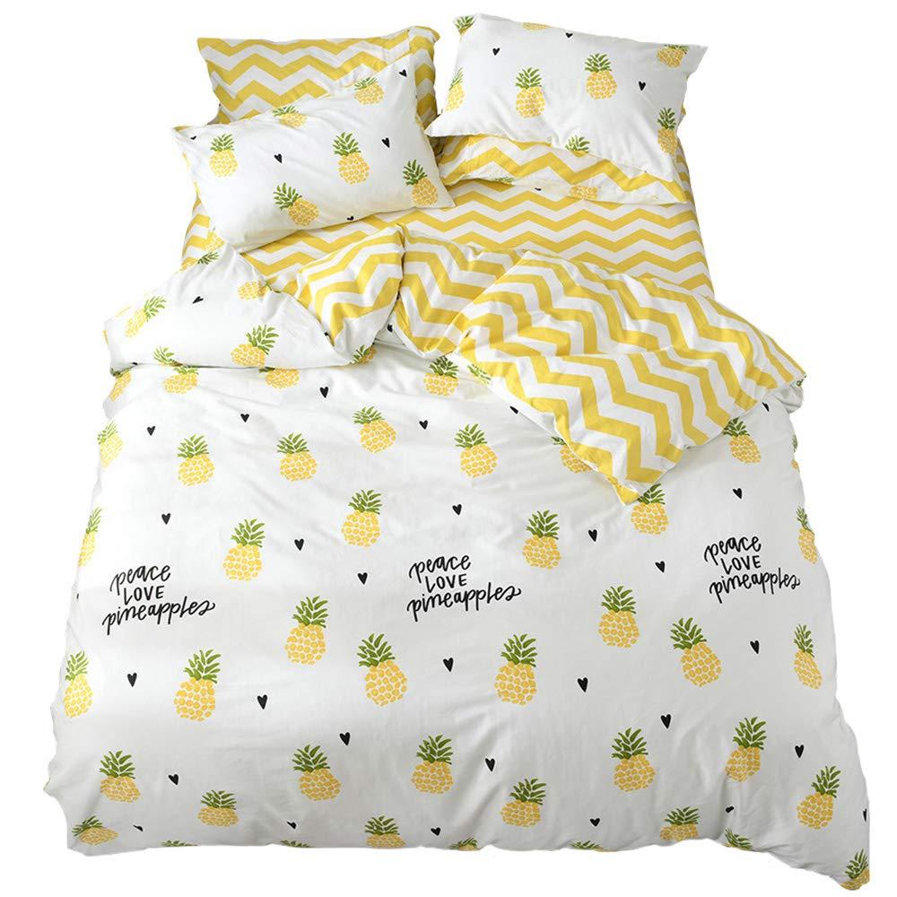HIGHBUY Cartoon Cotton Printed Kids Girls Bedding Sets Twin Soft Cotton Reversible Comforter Cover with Zipper Closure Corner Ties Duvet Cover 3 Pieces Set for Women Teens