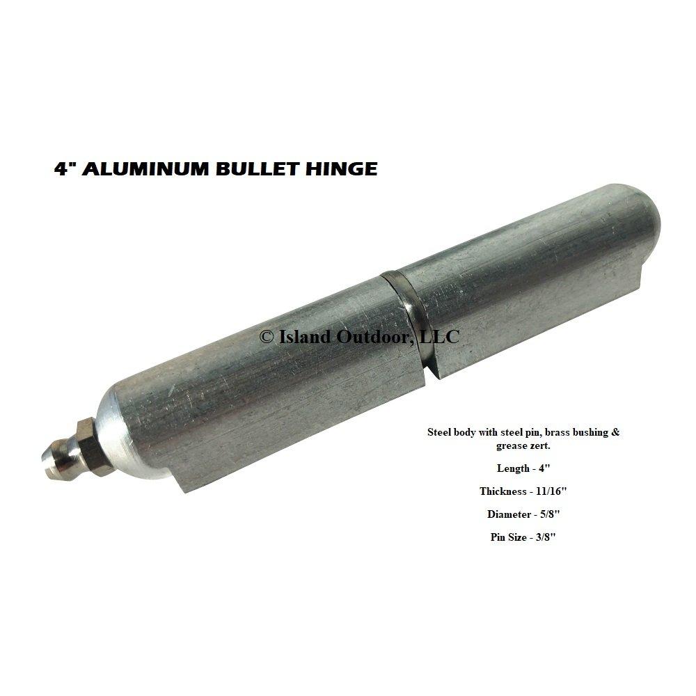 4'' ALUMINUM weld on Bullet Hinge Stainless Steel Bushing & Pin w/ zerk grease fitting (4)