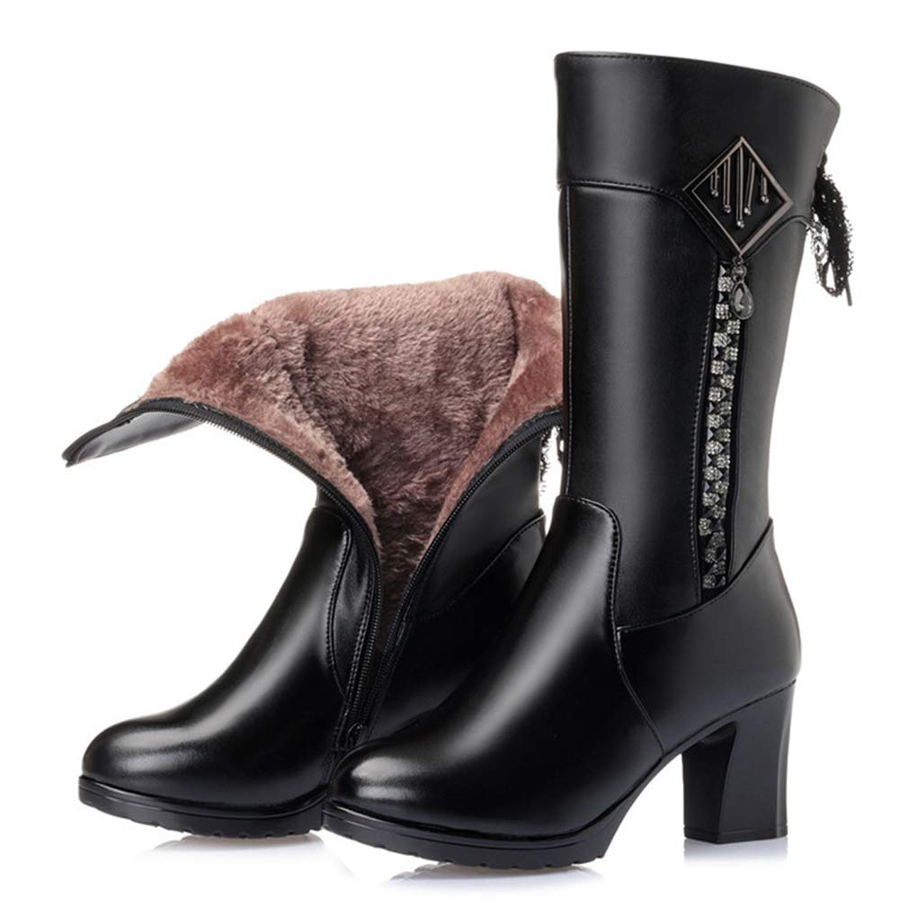 Black Wool AVENBER Women Mid Calf Boots High Heel Thick Winter Warm Side Zipper Footwears Adult Rubber Lace Bow Decoration shoes