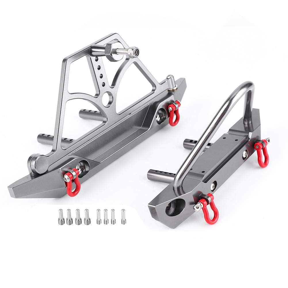 Alomejor CNC Metal RC Car Front Rear Bumper with Spare Tire Carrier fit for Axial SCX10 SCX10 II