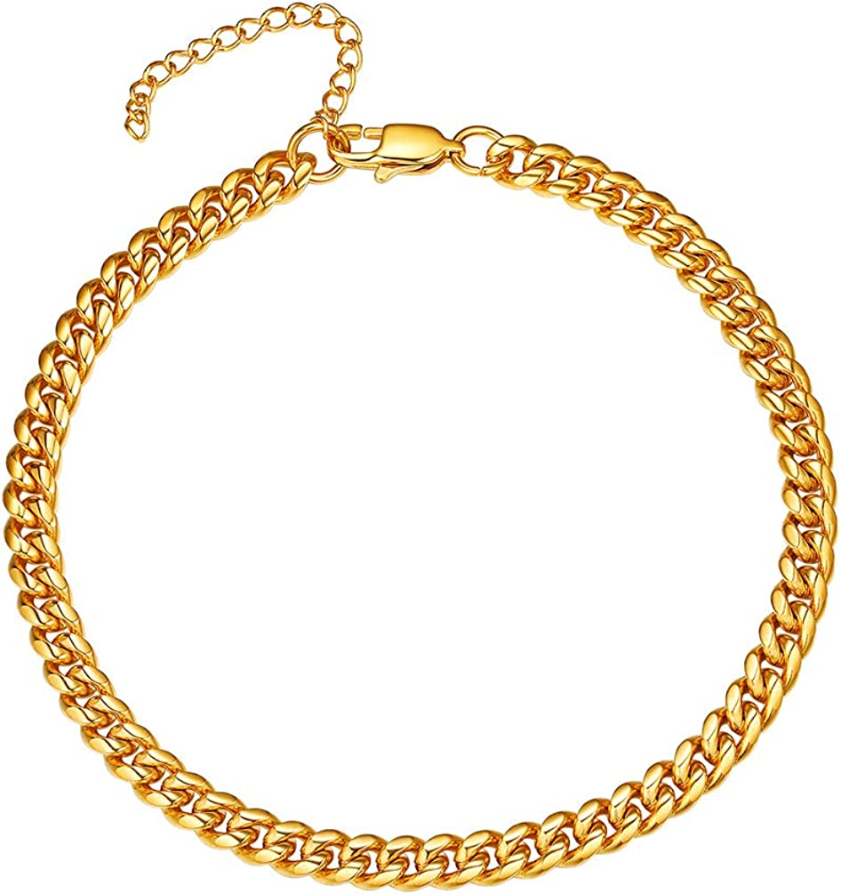 PROSTEEL Stainless Steel Chain Anklets for Men Women, Silver/Gold Tone, Ankle Bracelets Hypoallergenic, 8-10.5 Inch Adjustable, Come Gift Box