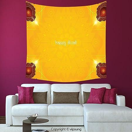 House Decor Square Tapestry-Diwali Decor Paisley Decor Backdrop ...