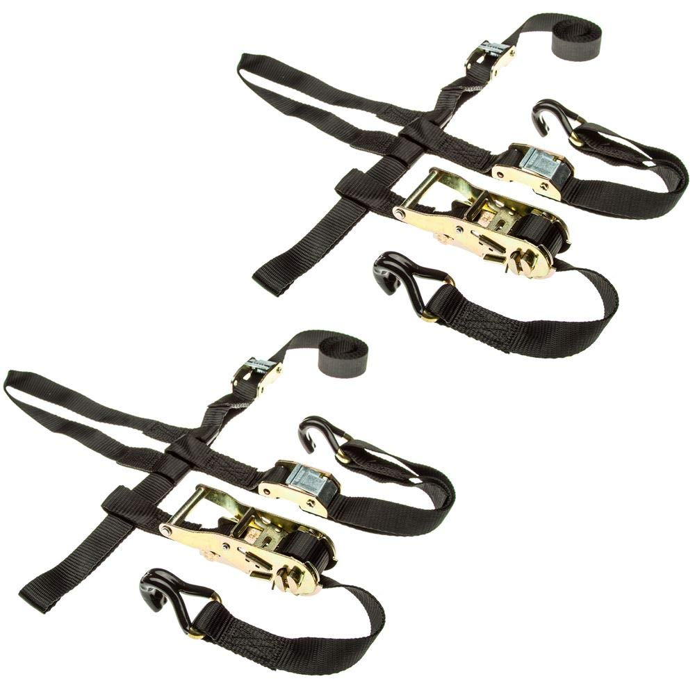 Rage Powersports 2-Pack of ATV or UTV Wheel Anchor Bonnet Ratcheting Tie-Down Straps