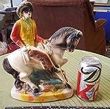 "Vintage 11"" Chalkware COWBOY Riding HORSE Figurine maybe LONE RANGER?"