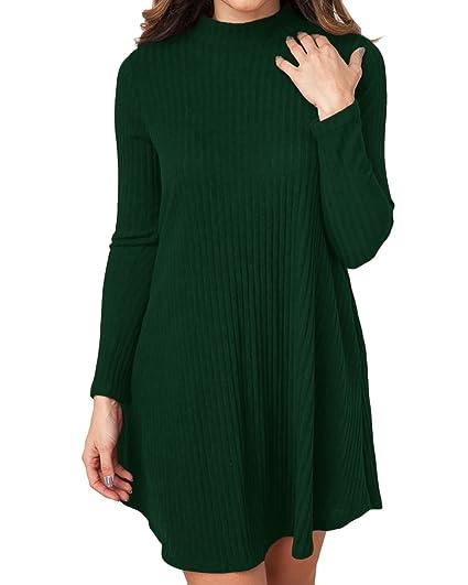 Cnfio Maglione Manica Lunga Donna Semplice Maglia Vestito Ragazza Knit  Pullover Magliette Tumblr Invernali Casual Mini Abito Tinta Unita verde L   Amazon.it  ... 8029b5b1b1d