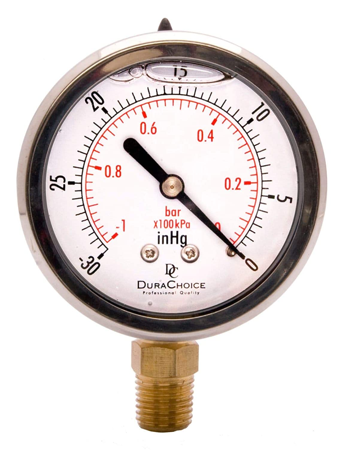 "2-1/2"" Oil Filled Vacuum Pressure Gauge - Stainless Steel Case, Brass, 1/4"" NPT, Lower Mount Connection -30HG/0"