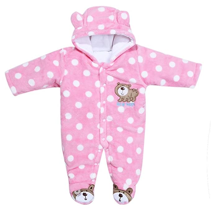 e8375aed9c8 Zibuyu Unisex Baby Kids Warm Coral Velvet Long Sleeve Romper Jumpsuit(Pink  12M)  Amazon.in  Clothing   Accessories