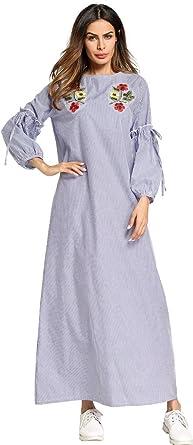 a739497321f177 Ababalaya Damen Casual Weich Streifen Stickerei Drucken Laterne Langarm  Knöchellang Muslimisch Islamisch Abaya Kleid