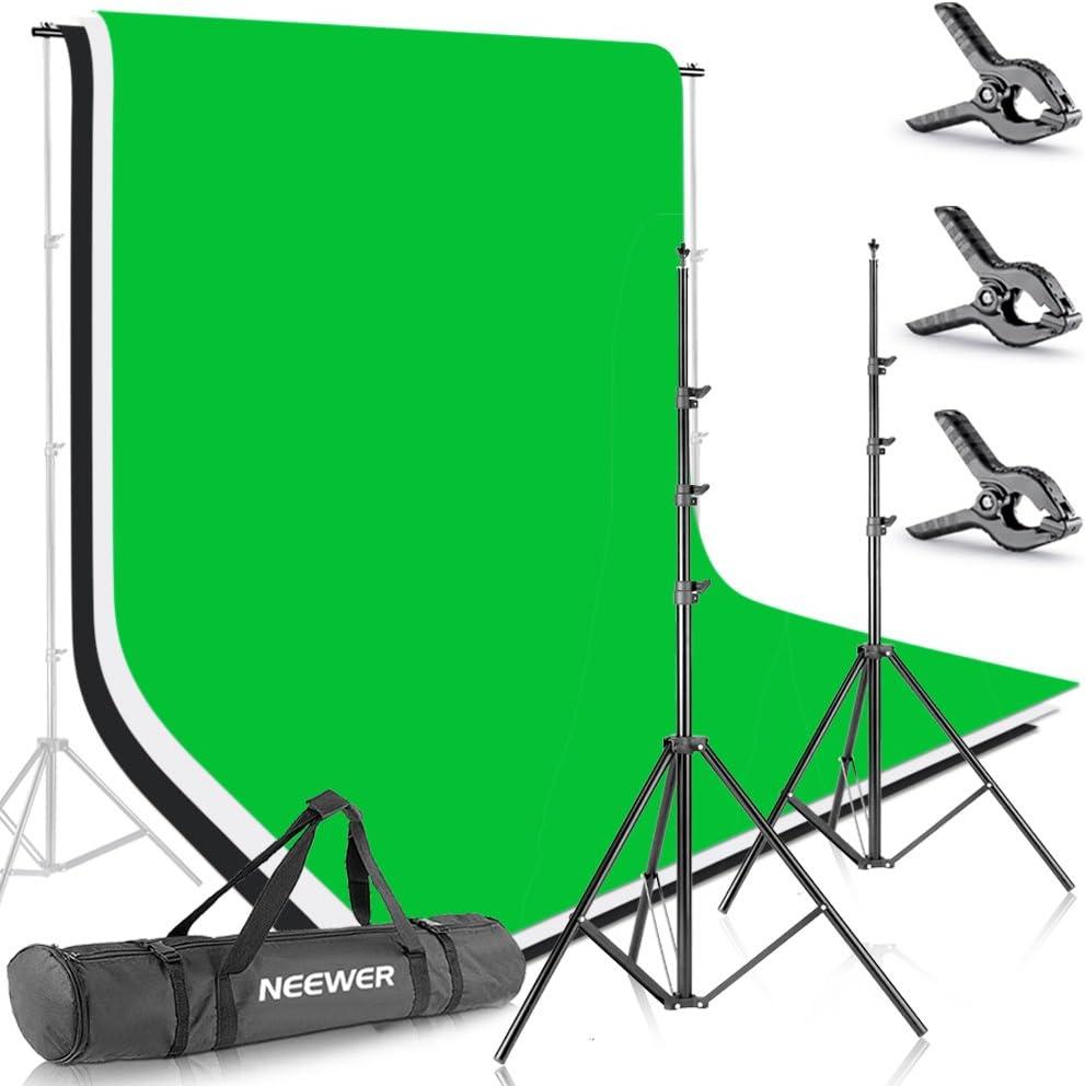 Neewer 10086005, 2.6M X 3M Soportes de Fondo con 1.8M X 2.8M Fondo(Blanco,Negro,Verde) para Fotografía y Vídeo