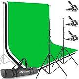 Neewer - Juego de soportes para croma (2,6m x 3m, blanco, negro, verde) para retrato, fotografía de producto y grabación de vídeo