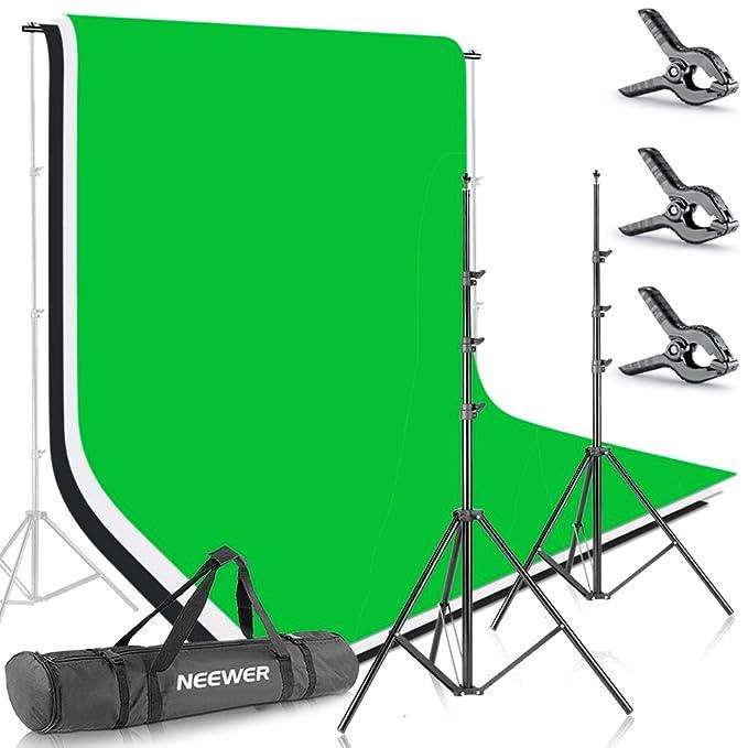 Neewer 10086005, 2.6MX 3M Soportes de Fondo con 1.8MX 2.8M Fondo(Blanco,Negro,Verde) para Fotografía y Vídeo