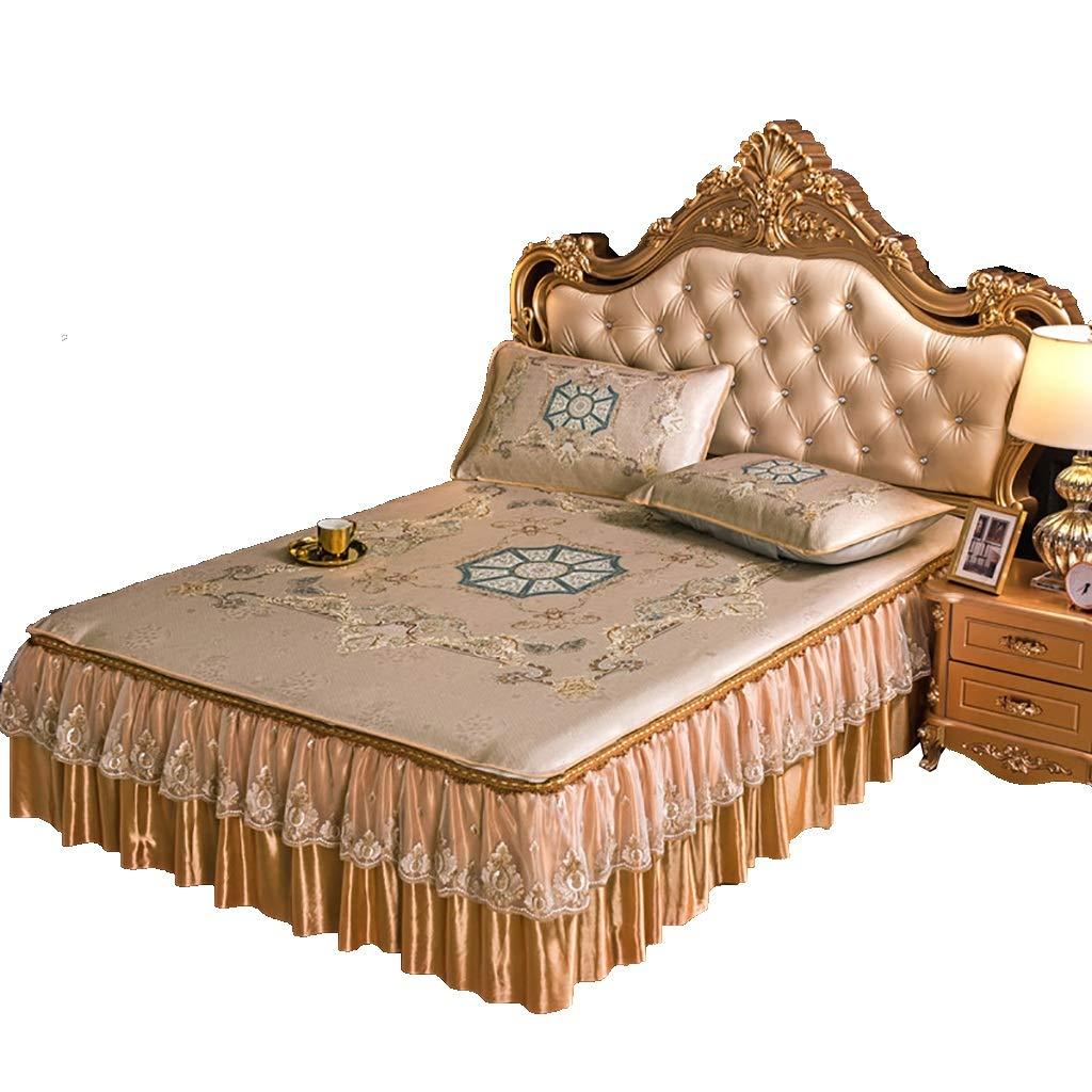 寝具カバーセット ベッドの上に3個セットベッドスカート枕カバーアイスシルクマットベッドカバー夏の眠るマットクッション布団カバーギフトベッドセット寝具ホテルの家族 (色 : A, サイズ さいず : 200*220CM bed cover) B07NSQVZHW D 150*200CM bed cover 150*200CM bed cover|D