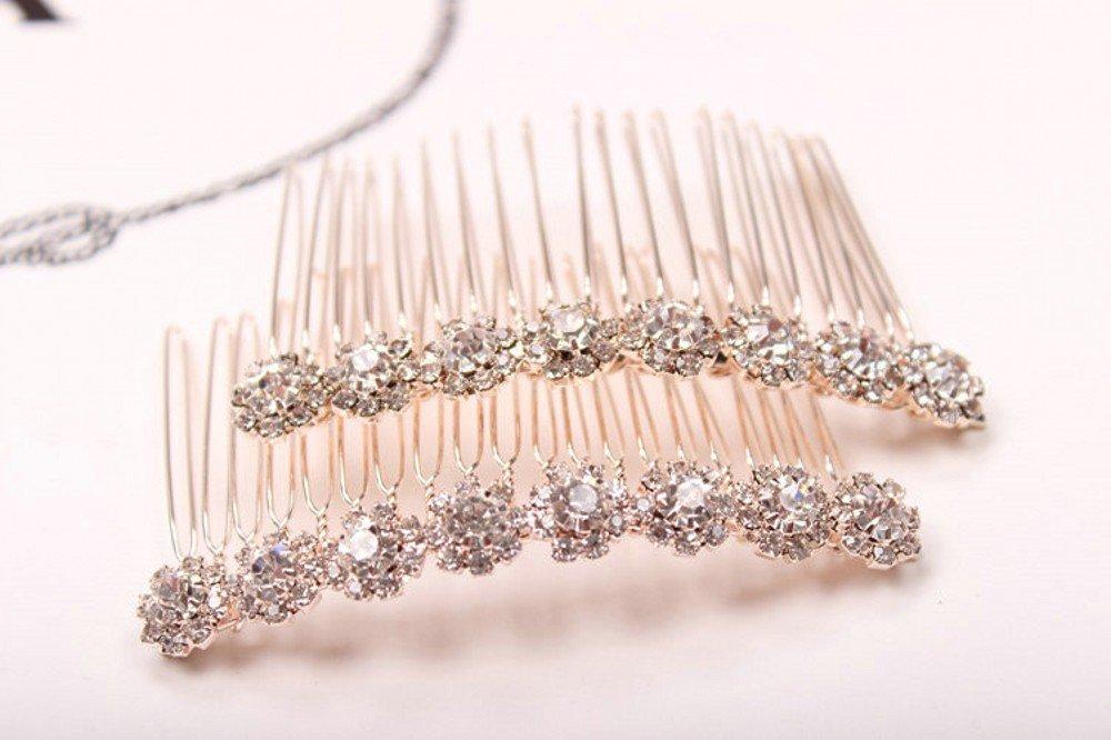 Letshopping High-grade Alloy Diamond Tiara Comb Hair Accessories Hair Fork(2pc) : Beauty