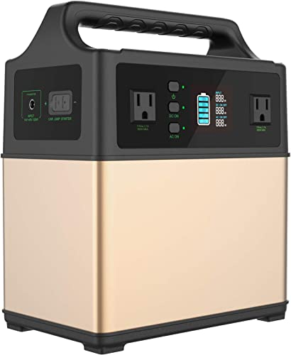 MAXOAK Portable Generator Power Station 400Wh Solar Generator 2AC Outlet 110V 300W Lithium Emergency Battery Backup Quiet Sine Power Storage for Outdoor CPAP Camping Hunting AC Car Sun Recharge