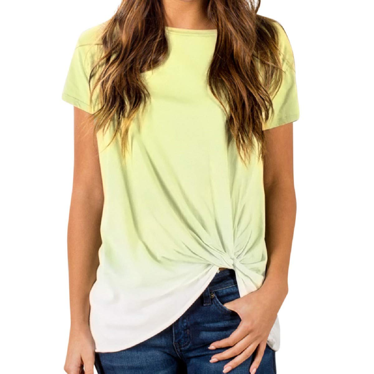 OTINICE Women Summer Tops Short Sleeve Gradient Color Knotted Casual Loose T-Shirt Blouse Yellow