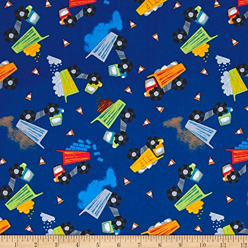 (Timeless Treasures 0546684 Dig It Dump Trucks Fabric by The Yard, Royal )