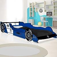 Lit enfant voiture Formule 1 Bleu 90 x 200 cm Sommier à lattes inclus Meuble chambre