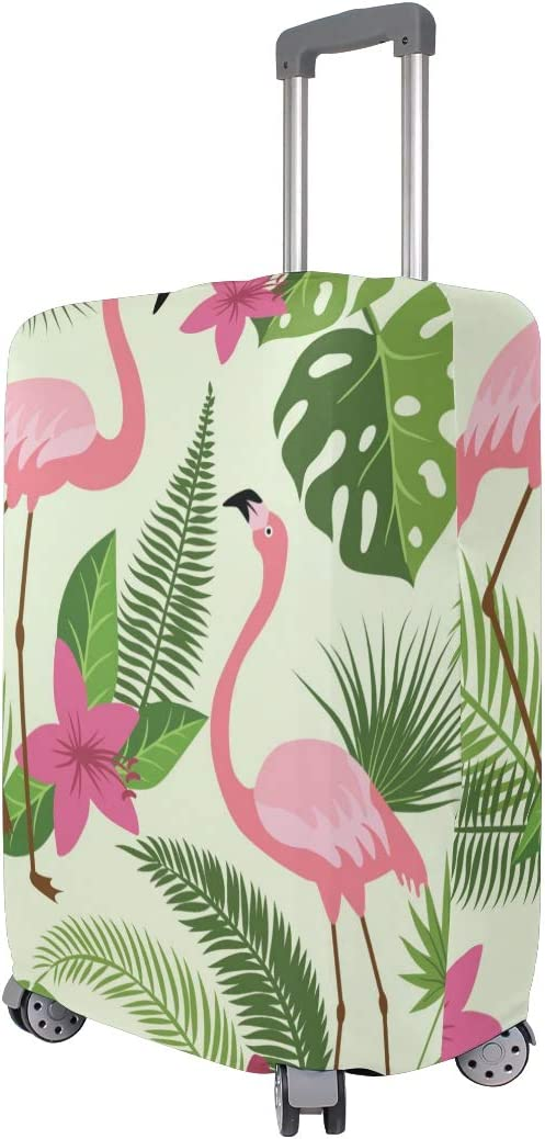 GIOVANIOR Pink Flamingos Green Leaves Luggage Cover Suitcase Protector Carry On Covers