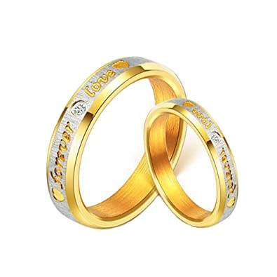 160be3fa9a56c Yellow Chimes Love Forever 18K Gold Plated Proposal Couple Rings for Girls  and Boys. Perfect for Couple!