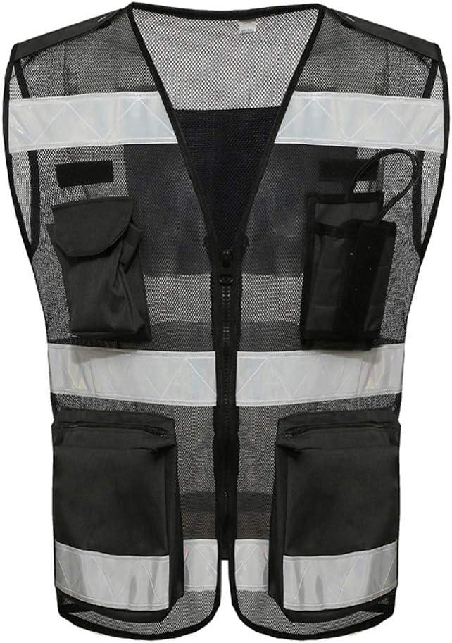 Schwarze reflektierende Sicherheitsweste Atmungsaktives Netz Arbeitskleidung Reisen bei Nacht Sicherheit Warnweste Liuyu.