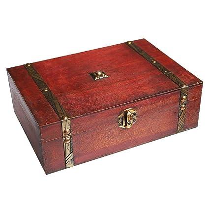 Colección de recuerdo de madera caja con tapa, caja de almacenamiento de joyería de escritorio