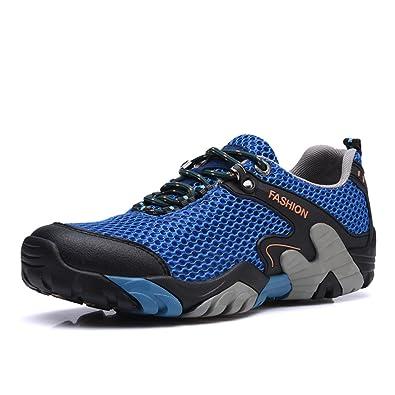 Sixspace Herren Damen Trekking Wanderschuhe Outdoor Sneakers Wasserdicht Gleitsicher mit Perfekter Dämpfung Dicker, Khaki 46 EU