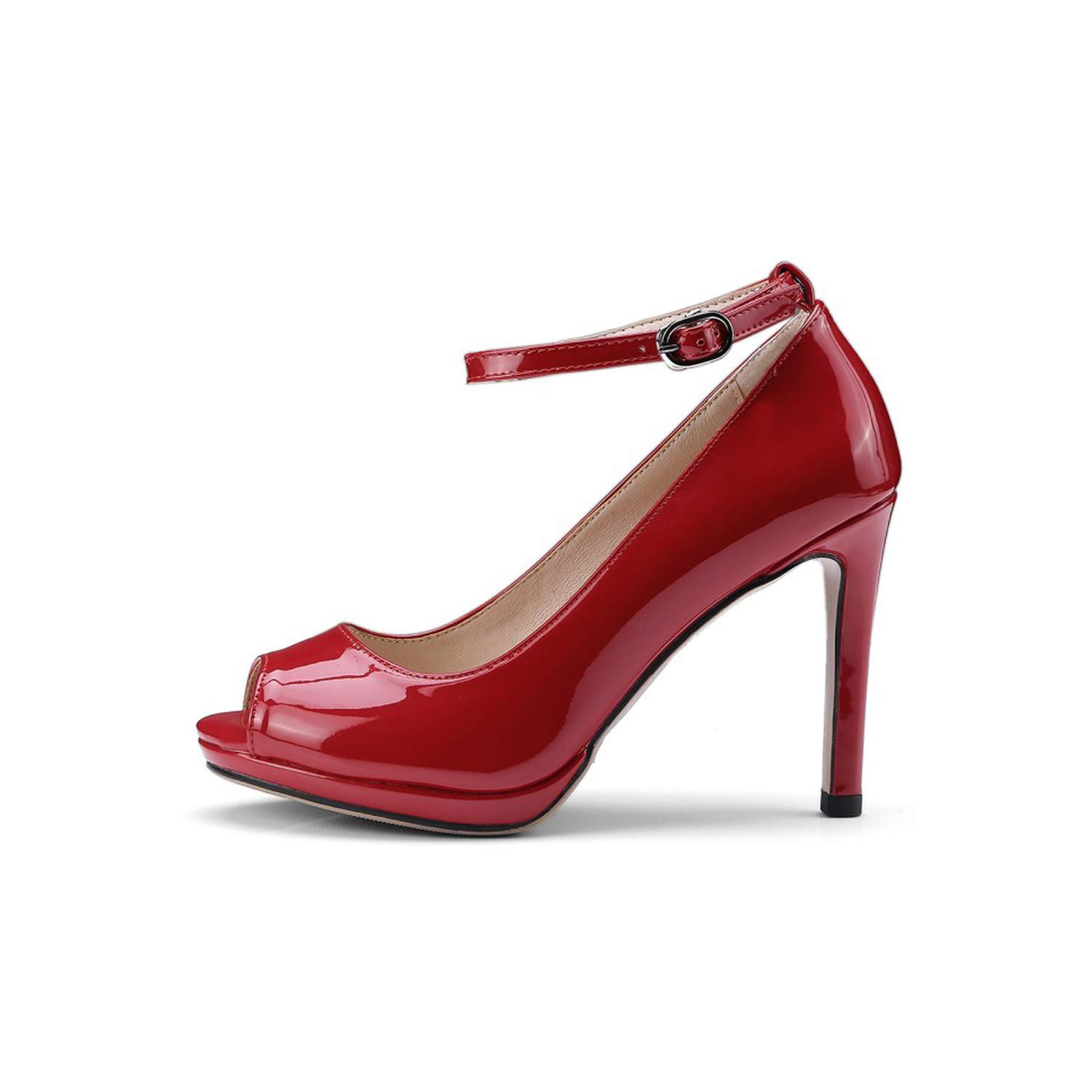 Red Sunny Doll Big Size 34-43 2019 Women Solid PU peep Toe high Heels Pumps
