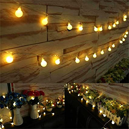 Amazon.com : AMARS 33ft Battery Operated Globe LED String Lights ...