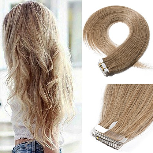 20'' 100g Remy Tape in Hair Extensions Human Hair 40pcs #27 Dark Blonde Straight Hair Seamless Skin Weft Invisible Double Sided Tape by Elailite