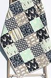 Boy Quilt Mint Navy Modern Baby Bedding Woodland Deer Bears Aztec Tribal Buck Handmade Crib or Toddler Size