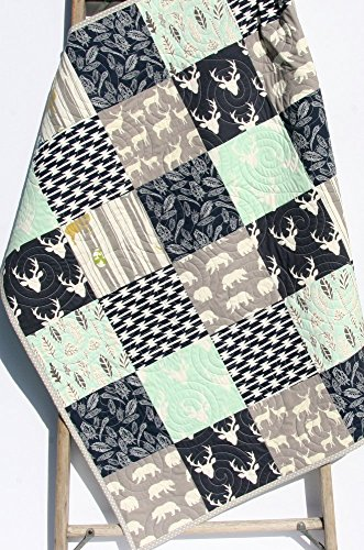 Boy Quilt Mint Navy Modern Baby Bedding Woodland Deer Bears Aztec Tribal Buck Handmade Crib or Toddler Size
