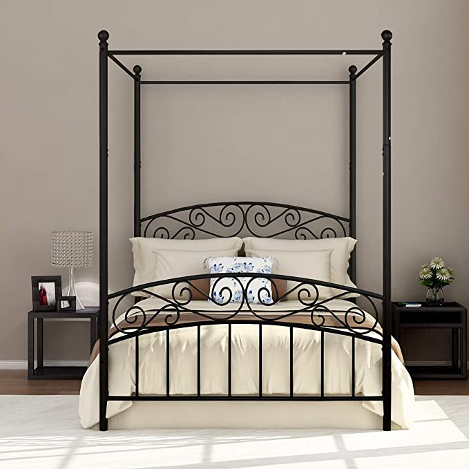 Details about  /Full Size Metal Canopy Bed Frame 4 Poster Steel Slats Headboard Footboard