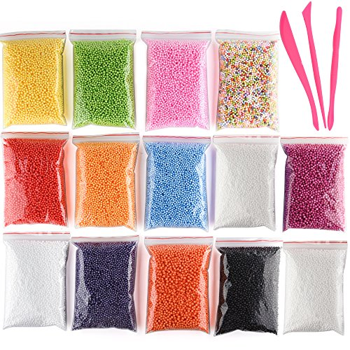 Kuuqa Micro Polystyrene Styrofoam Beads Small Foam Balls Slime Beads Set with 3 Slime Tools Fit for Slime Making Art DIY Craft, 0.08-0.15 Inch Approx 50000 Balls in Total