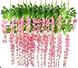 Lannu 12 Pack 3.6 FT Artificial Fake Hanging Wisteria Vine Ratta Silk Flowers String for Home Wedding Party Decor (Pink)