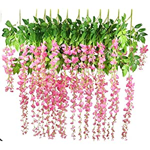 Lannu 12 Pack 3.6 FT Artificial Fake Hanging Wisteria Vine Ratta Silk Flowers String for Home Wedding Party Decor (Pink) 120