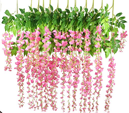 Lannu 12 Pack 3.6 FT Artificial Fake Hanging Wisteria Vine Ratta Silk Flowers String for Home Wedding Party Decor (Pink) (Wisteria Flowers Artificial)
