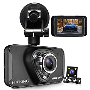 """1080P Dual Dash Cam Full HD Front and Rear Camera for Cars, Driving Recorder with IR Sensor, 170 Degree Wide Angle 6G Lens, G-Sensor, WDR, Night Vision, Loop Recording,2.7"""" LCD Big Screen"""